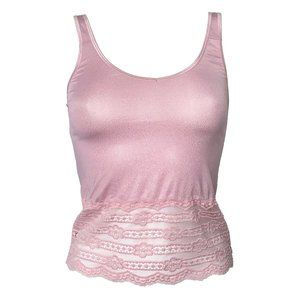 Sheer Shimmery Glitter & Lace Pink Camisoles S,M,L